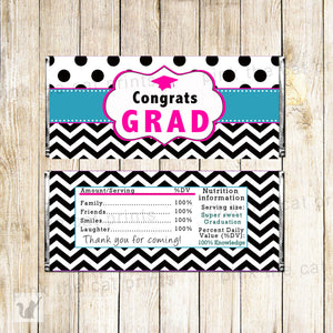 Graduation Candy Bar Label Wrapper Black Teal