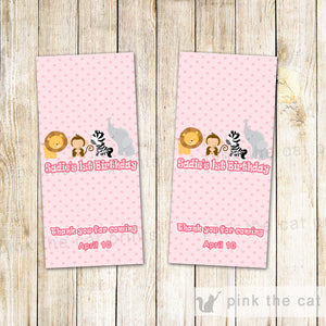 Pink Jungle Mini Candy Label Wrapper Birthday Baby Shower