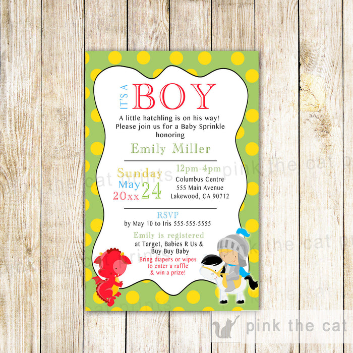 Dragon Prince Knight Invitation Boy Birthday Baby Shower Green
