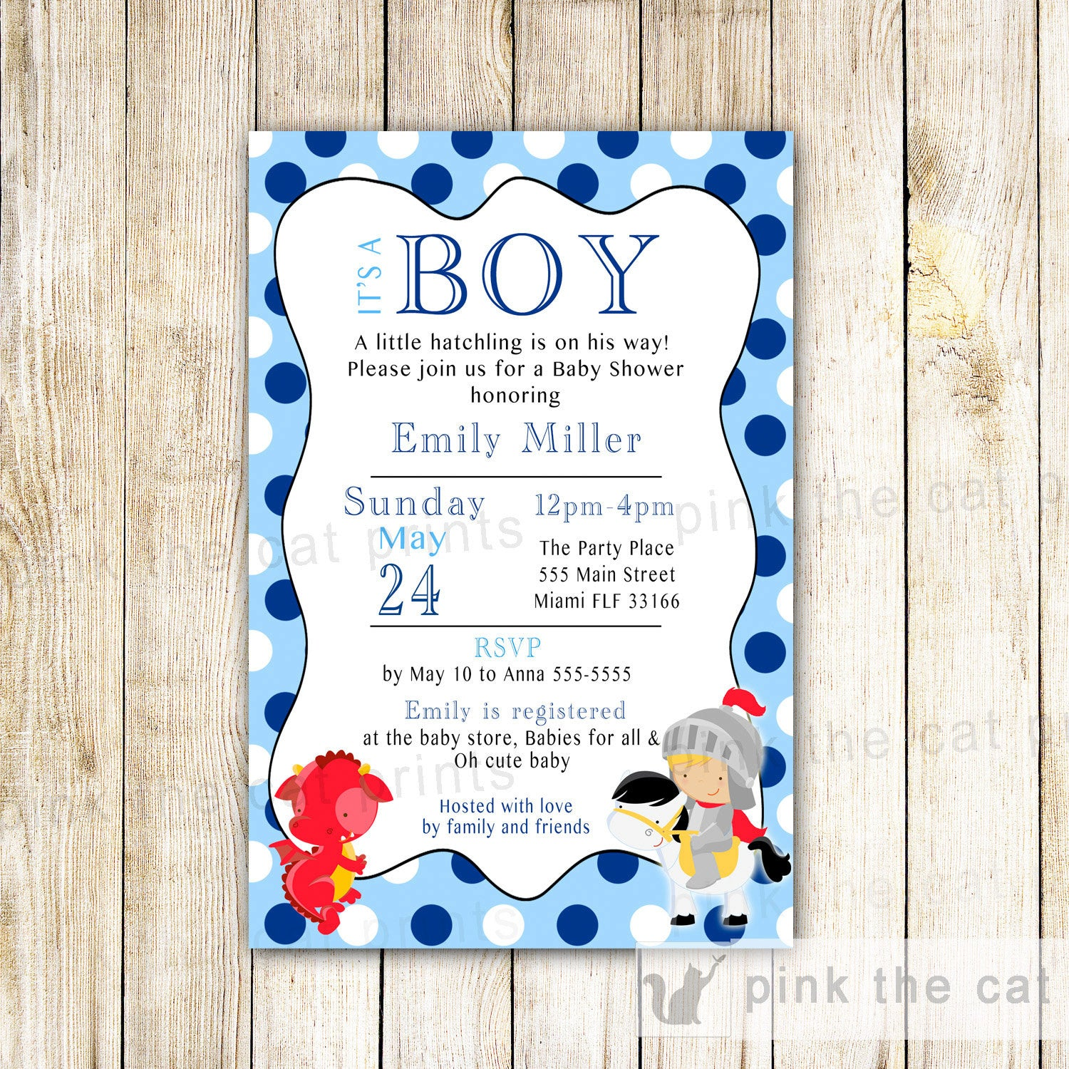 Dragon Knight Invitation Baby Boy Shower Red Blue – Pink The Cat