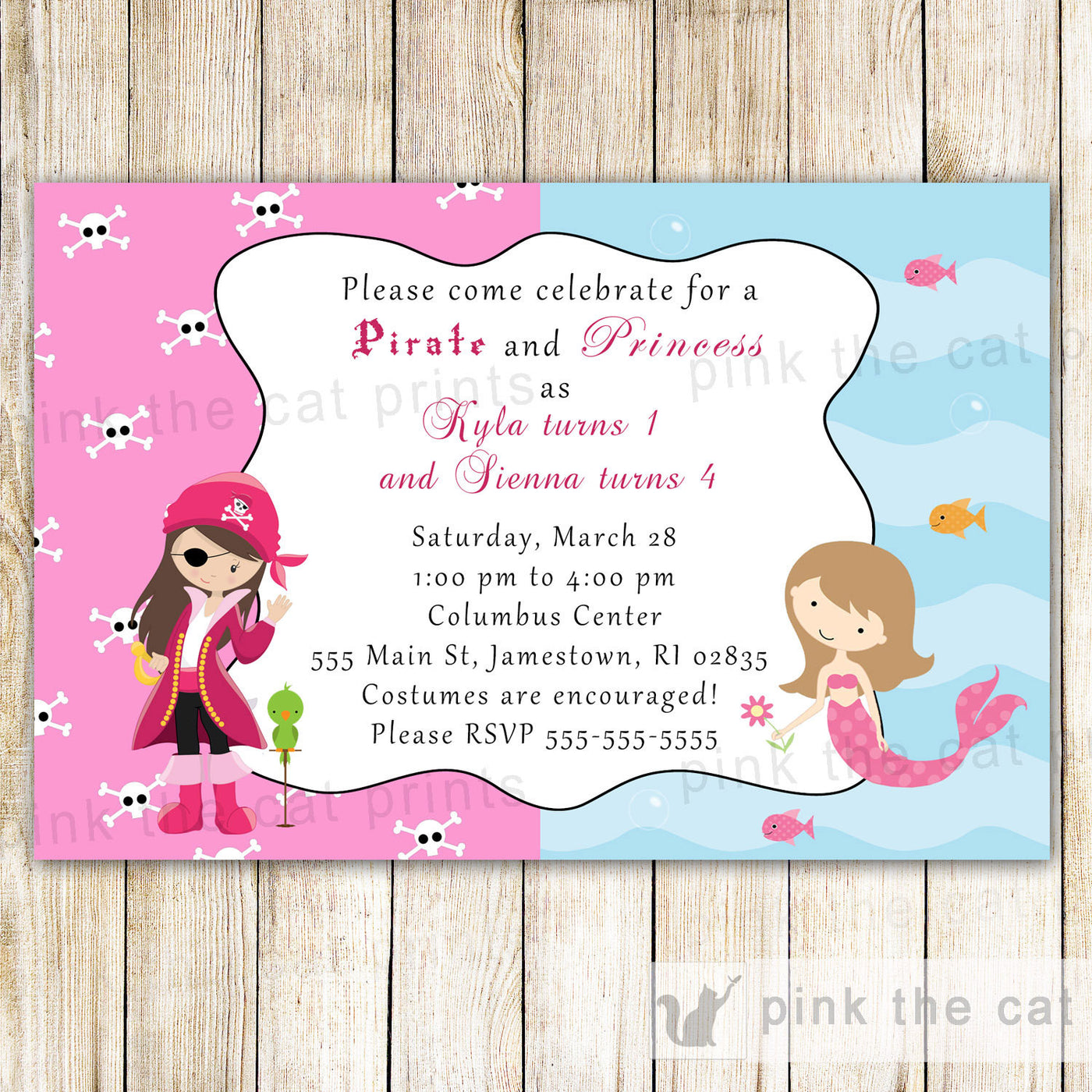 Pirate Mermaid Invitation Girl Birthday Party Pink The Cat