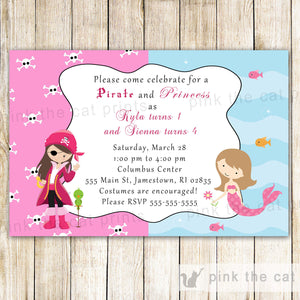 pirate mermaid invitation girl birthday party