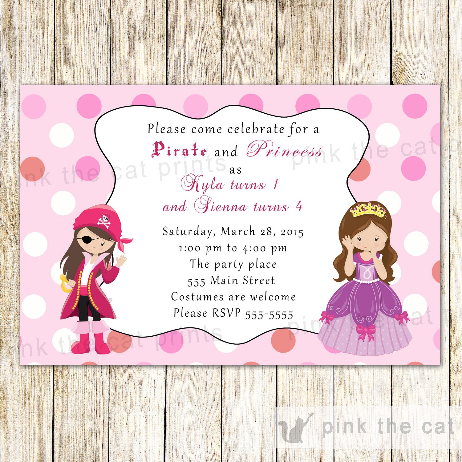 Pirate Princess Invitation Girl Birthday Party – Pink The Cat