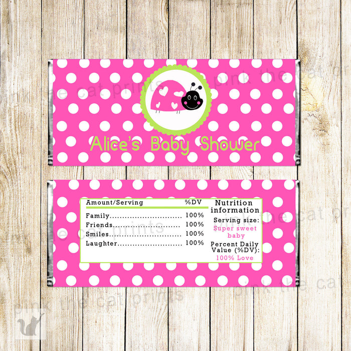 Ladybug Candy Bar Label Wrapper Birthday Hot Pink