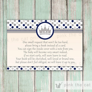 Prince Invitation Baby Boy Shower & Bring a Book Card Silver Blue