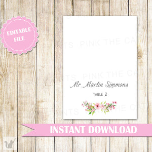 Wedding Place Card - Bohemian Folded Card Floral Wedding Decoration Card Table Decoration Editable Wedding Place Card INSTANT DOWNLOAD