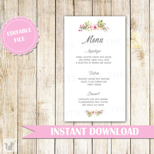 Floral Menu Card Bohemian Wedding Pink Mint Green