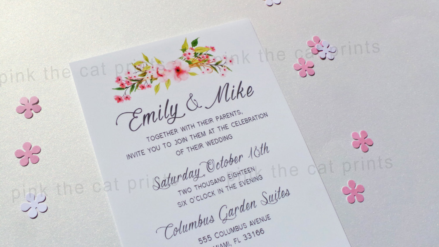 Boho Wedding Invitation Bohemian Pink Mint Floral – Pink The Cat