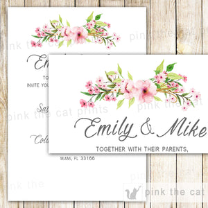 Boho Wedding Invitation Bohemian Pink Mint Floral