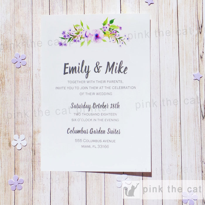Boho Wedding Invitation Bohemian Floral Lavender Green
