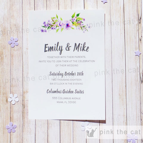 boho wedding invitation lavender green