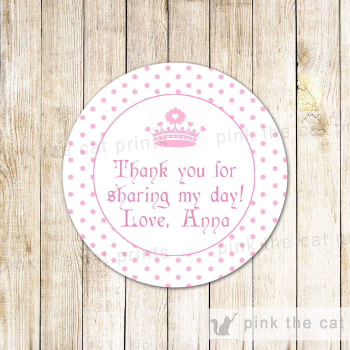Princess Labels Sticker Gift Favor Tag Baby Girl Shower Birthday Pink Dots