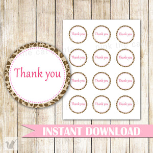 Leopard Gift Favor Labels Baby Girl Shower Thank You Tag  - Leopard Birthday Party Tags Baby Printable File Party Favors INSTANT DOWNLOAD