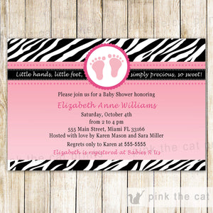 zebra pink black invitation