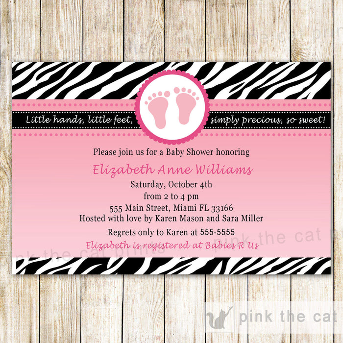 Zebra Invitation Baby Girl Shower Pink Black
