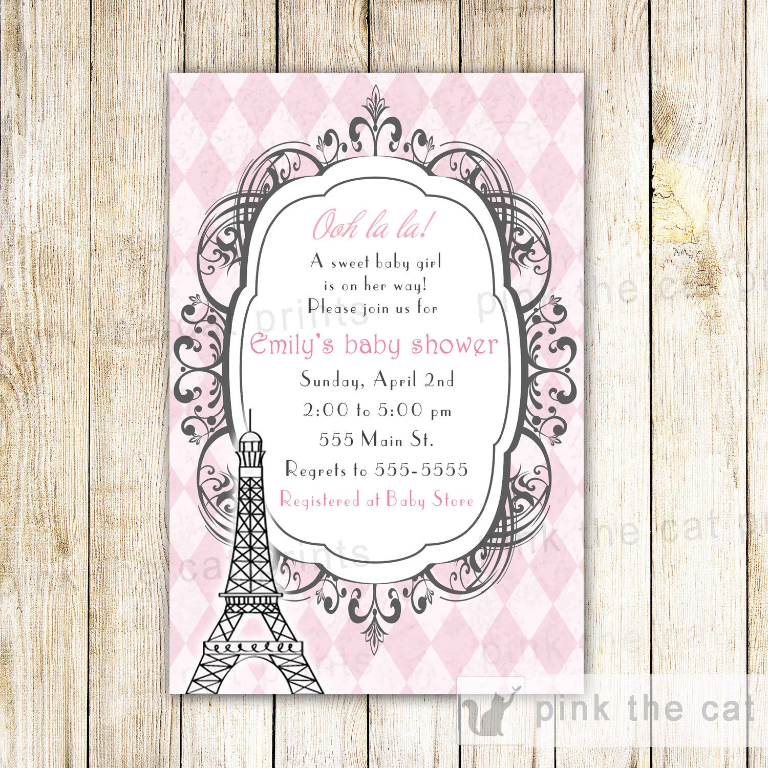 Vintage Chic Paris Invitation Baby Girl Shower Birthday – Pink The Cat