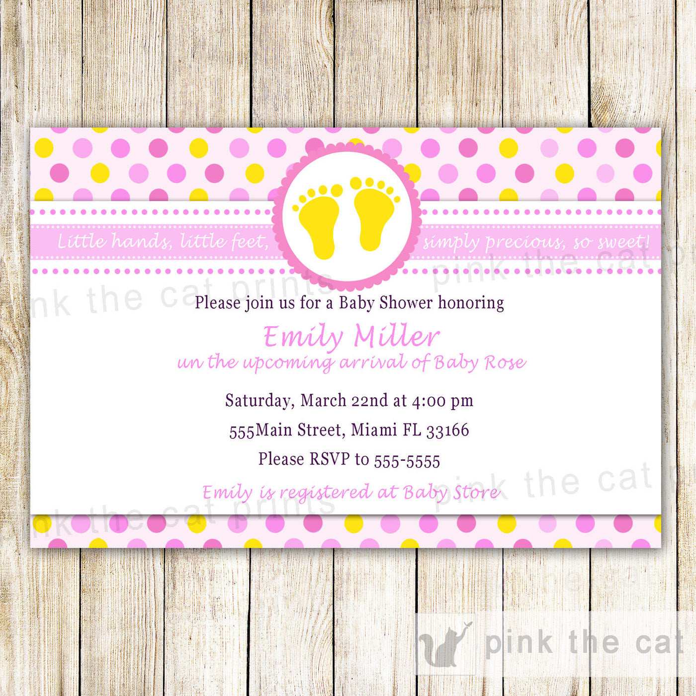 Pink Yellow Feet Baby Girl Shower Invitation Card Pink The Cat