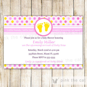 yellow pink baby shower invitation feet