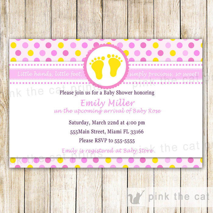 Pink Yellow Feet Baby Girl Shower Invitation Card