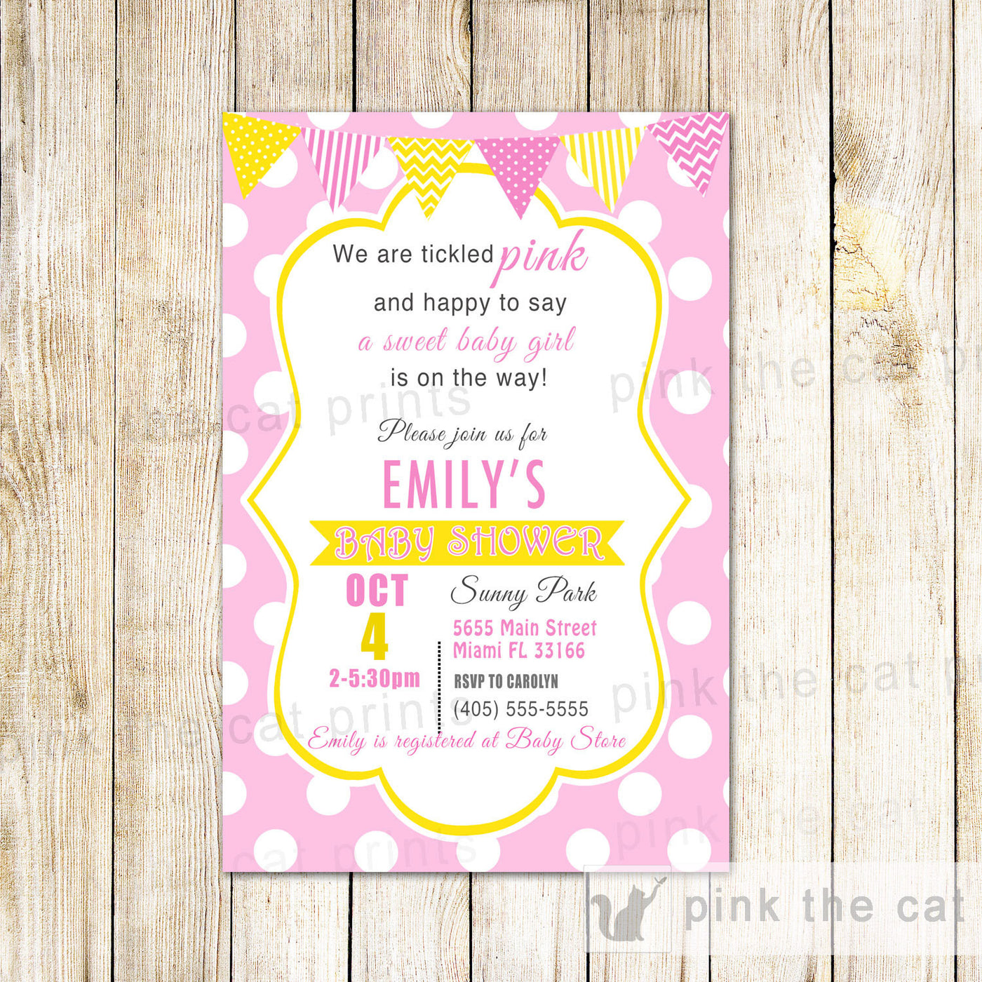 Pink Yellow White Invitation Girl Baby Shower Birthday Pink The Cat