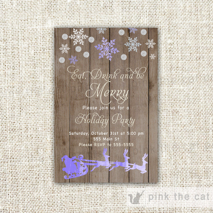 Eat Drink And Be Merry Invitation Christmas Party Rustic
