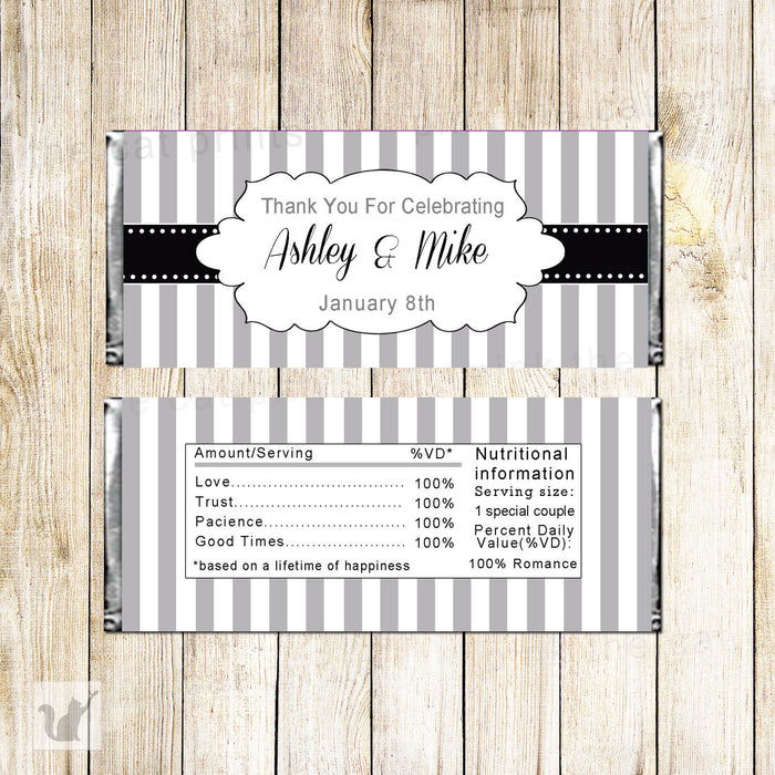 Bridal Shower Candy Bar Wrapper Label Grey Navy