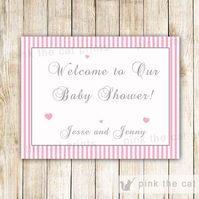 Pink Stripes Welcome Sign Baby Shower Birthday