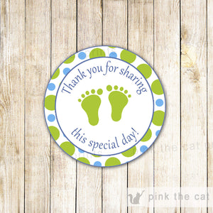Green Blue Baby Boy Shower Thank You Label Sticker Tag