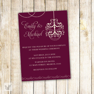 burgundy chandelier wedding invitation
