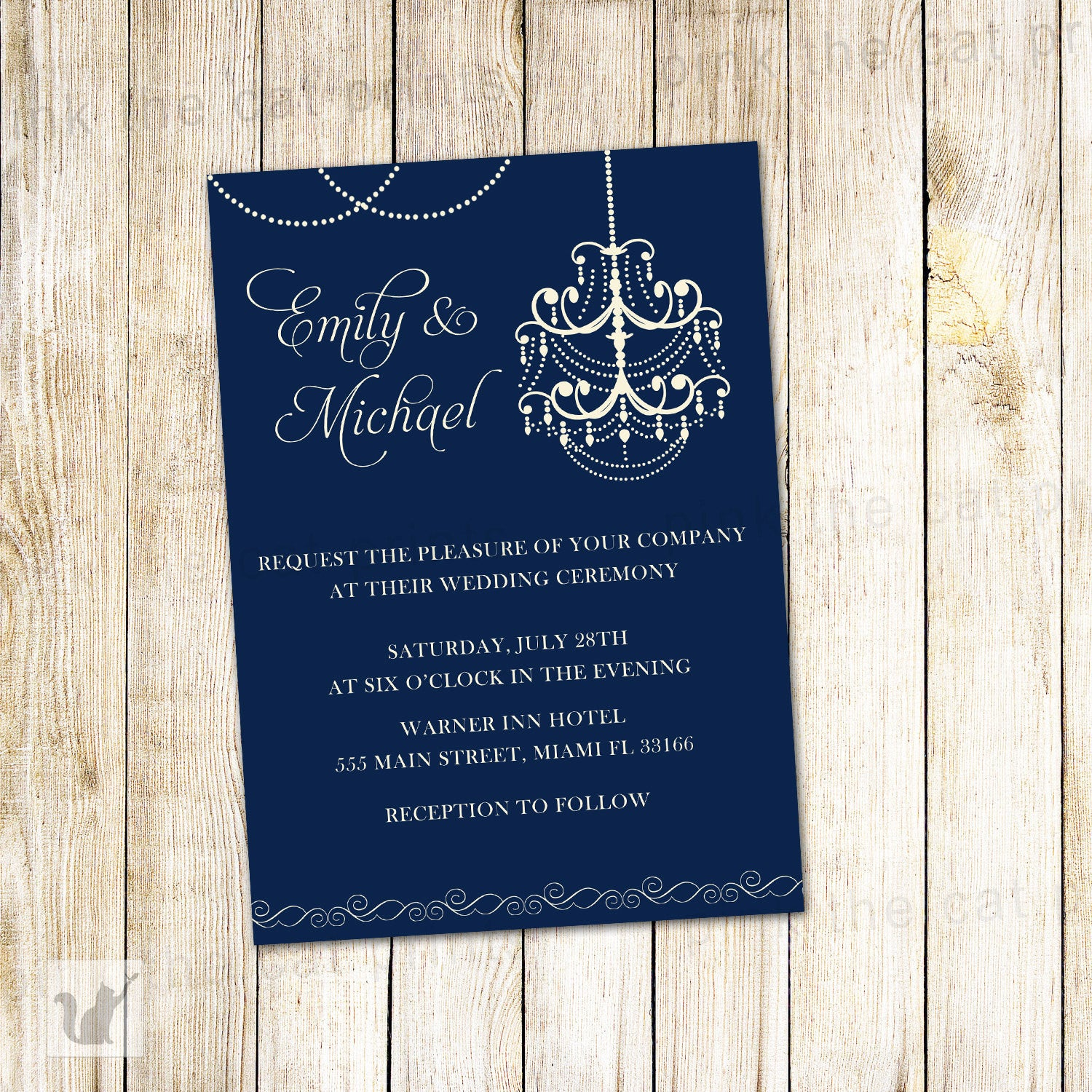Chandelier Wedding Invitation Navy Blue Gothic Style – Pink The Cat