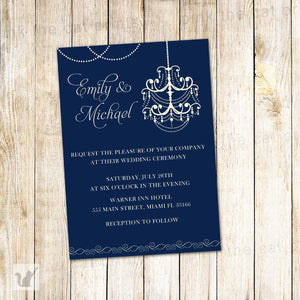 navy blue chandelier wedding invitation