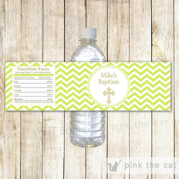 Boy Baptism Christening Bottle Label Green Gold