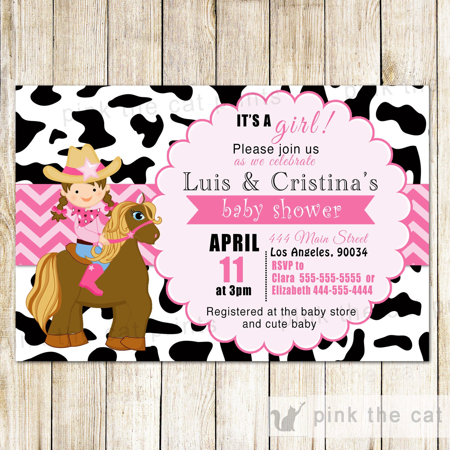Cowgirl Invitation Girl Birthday Baby Shower Horse – Pink The Cat