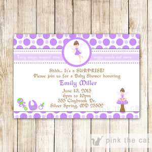 fairy purple green invitation baby shower