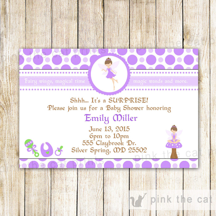 Fairy Invitation Baby Girl Shower Purple Green Pixie
