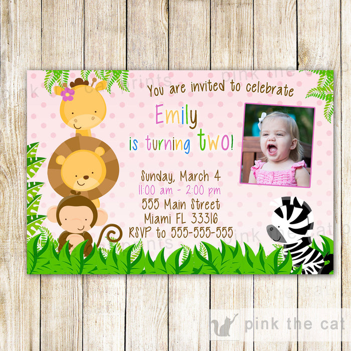Jungle Invitation Girl Birthday Photo Card Pink