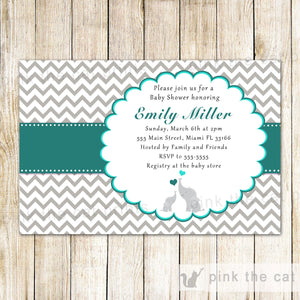 elephant teal grey invitation