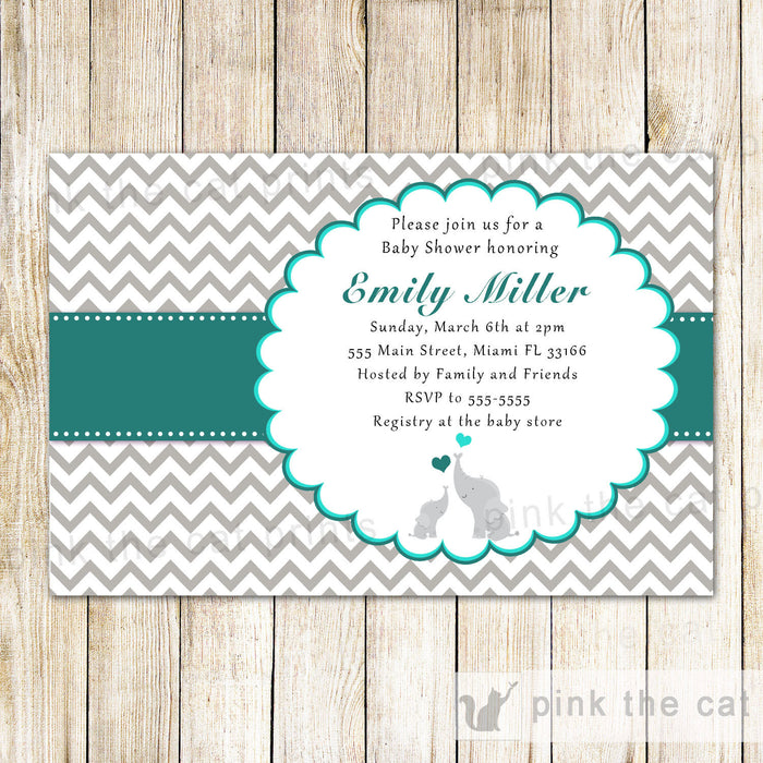 Elephant Baby Shower Invitation Teal Grey