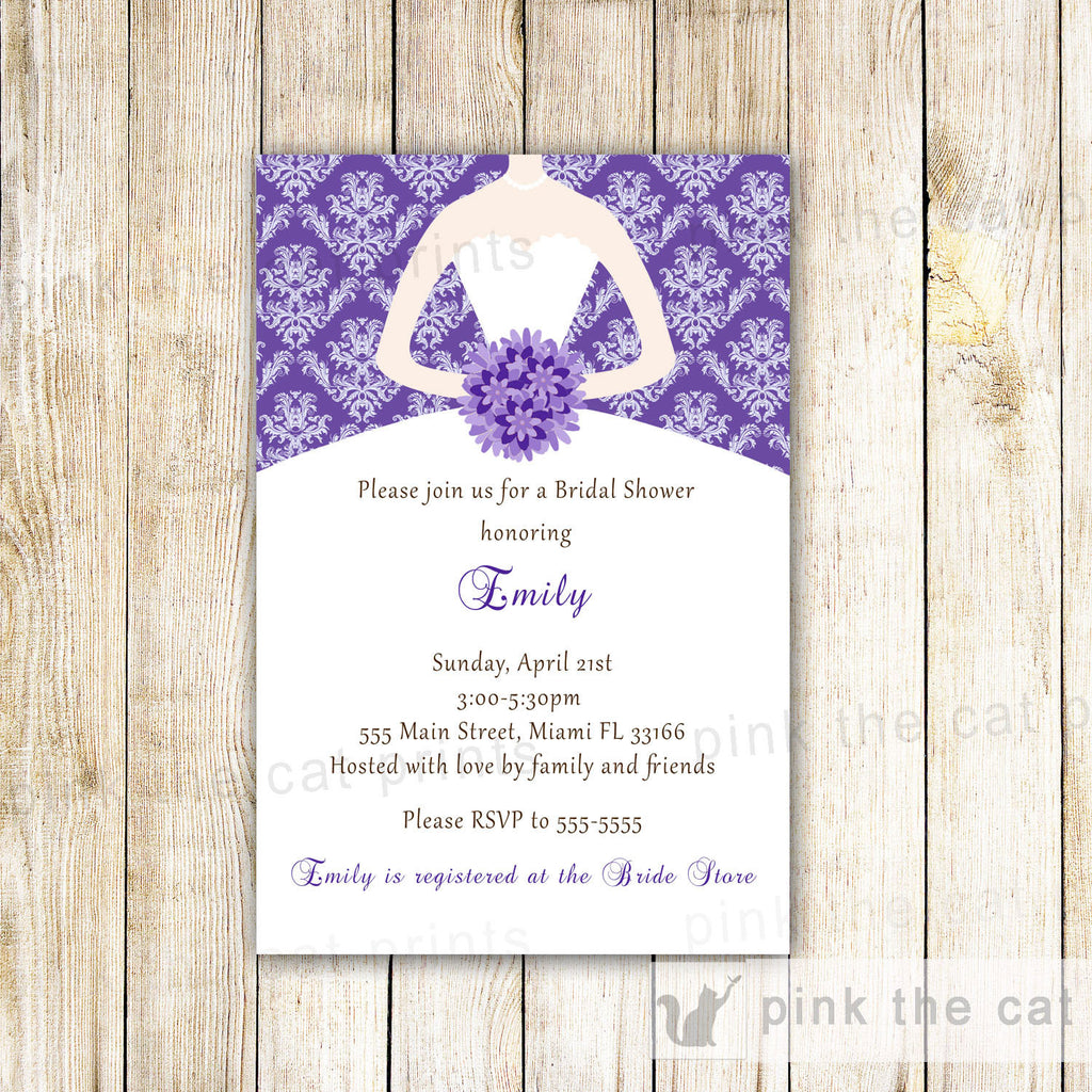 purple damask invitation dress