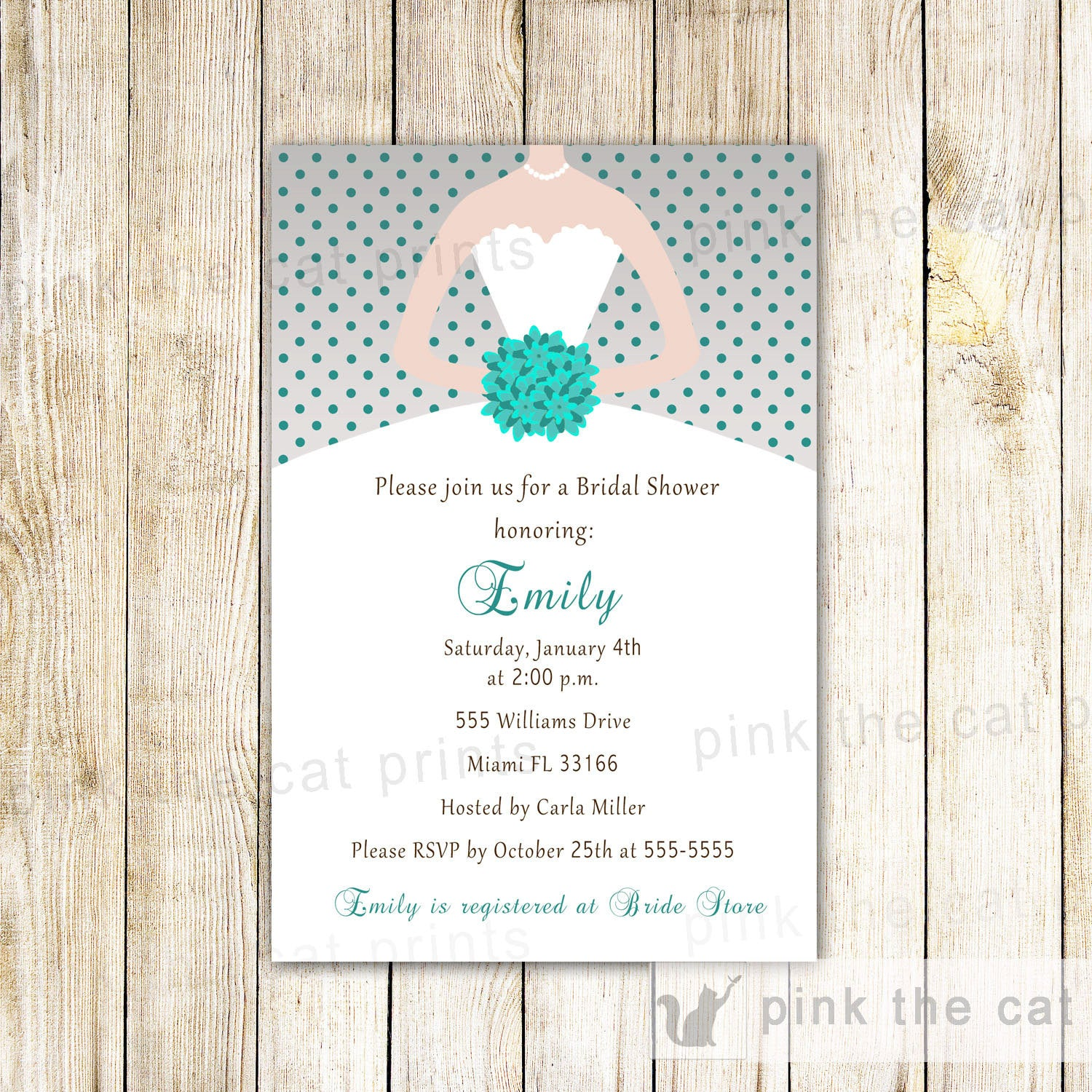 Grey turquoise teal dress bride bridal shower invitations pink the cat teal grey dress bridal shower invitation grey turquoise filmwisefo