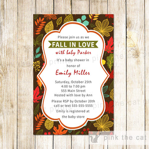 Fall In Love Invitation Baby Shower Unisex Autumn Leaves Printable