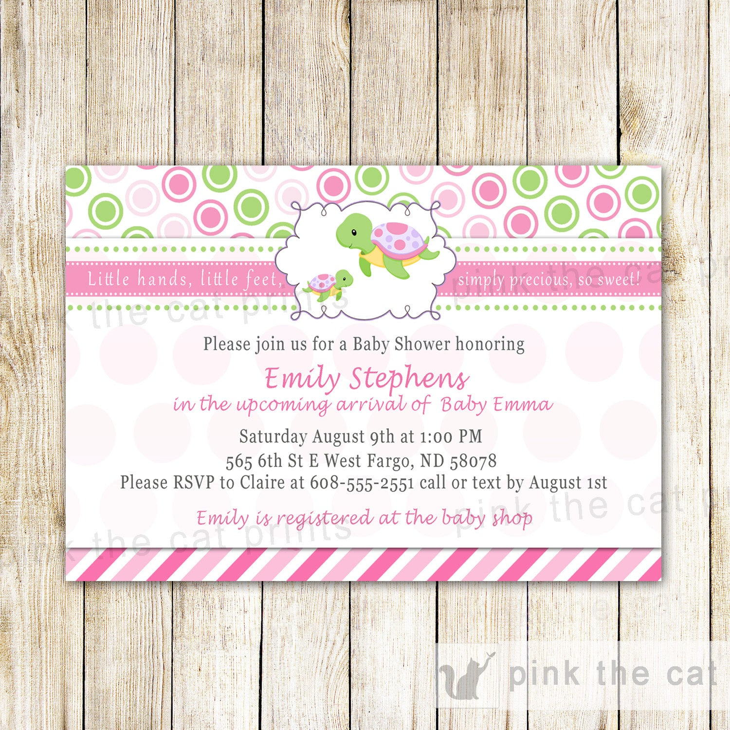 Turtle Baby Girl Shower Invitation Pink Green – Pink The Cat