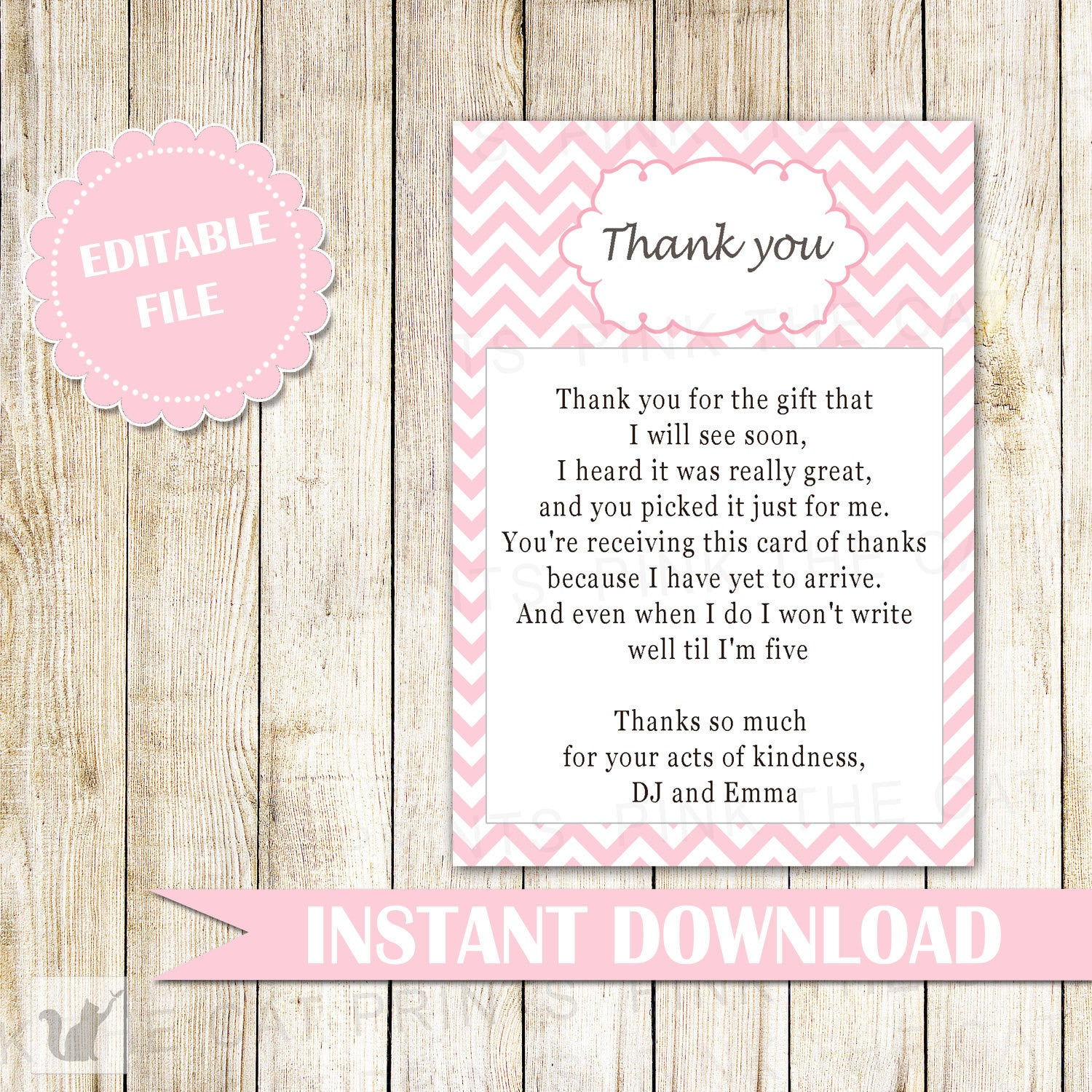 Pink Chevron Thank You Card Note Zig Zag Pattern Baby Girl