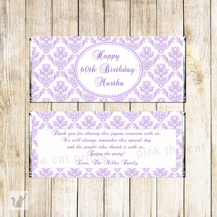 Damask Purple Candy Bar Label Wrapper Birthday