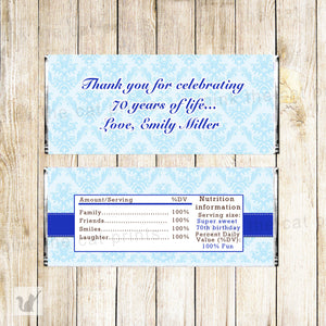 Blue Damask Birthday Candy Bar Label Wrapper