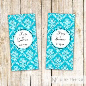 Wedding Candy Label Wrapper Bridal Shower Turquoise