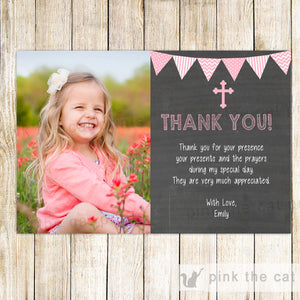 Girl Baptism Christening Thank You Card Pink Chalkboard