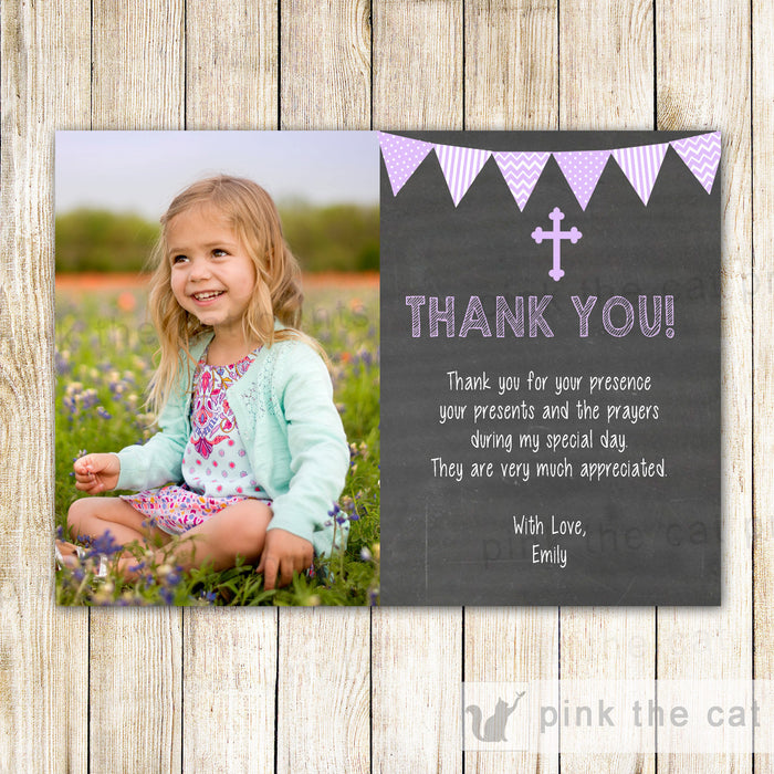 Girl Baptism Communion Thank You Card Lavender Chalkboard