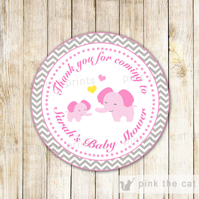 Pink Elephant Gift Favor Label Thank You Tag Sticker Baby Girl Shower