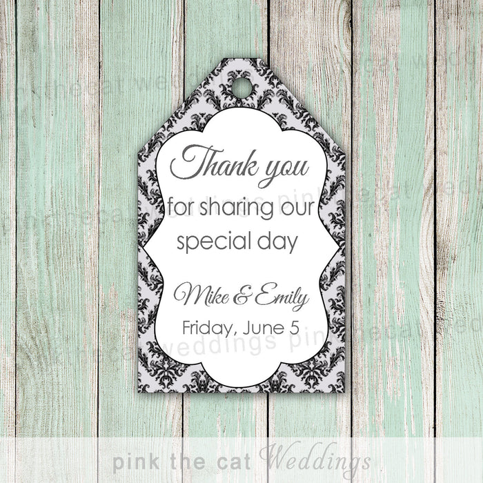 Damask Thank You Tags Gift Favor Tag Silver Black Wedding Favor Label